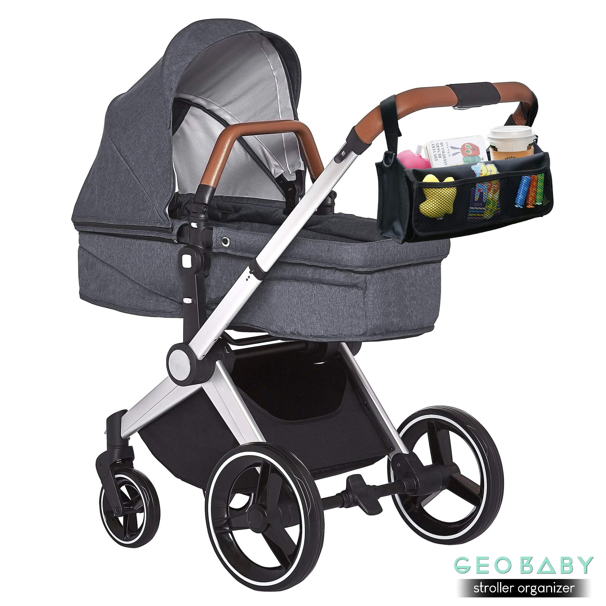 GeoBaby Modern and Universal Extra Storage Stroller Organizer With Cup Holders, Diaper Compartments, Wipes Dispenser, Phone Pockets, Baby Shower Idea by GeoBaby (Image #2)