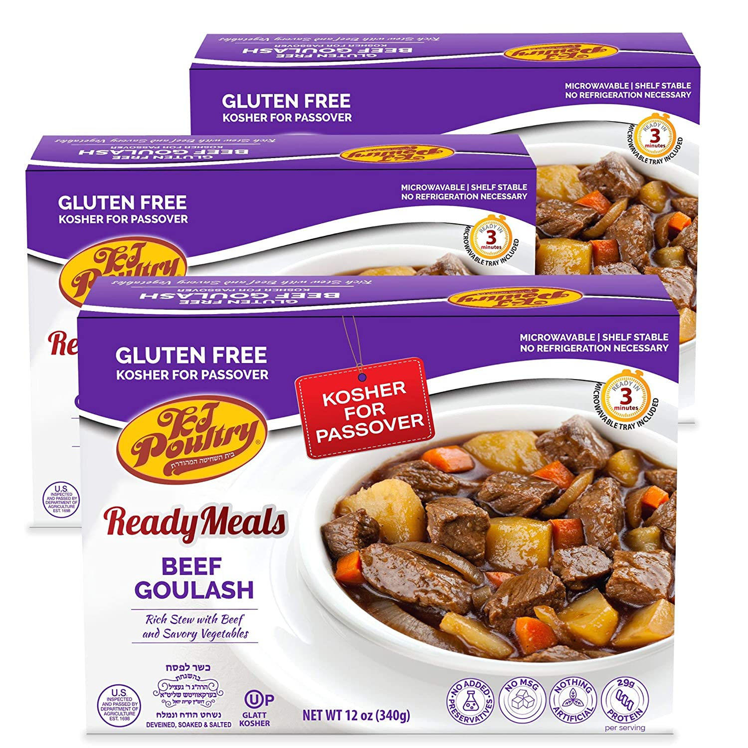 Kosher For Passover Food Beef Goulash - MRE Meat Meals Ready to Eat - Gluten Free (3 Pack) - Prepared Entree Fully Cooked, Shelf Stable Microwave Dinner