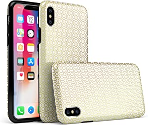 The Golden Honeycomb Pattern iPhone X Swappable Tough Two-Piece Hybrid Case - Matte Shell/Clear Liner