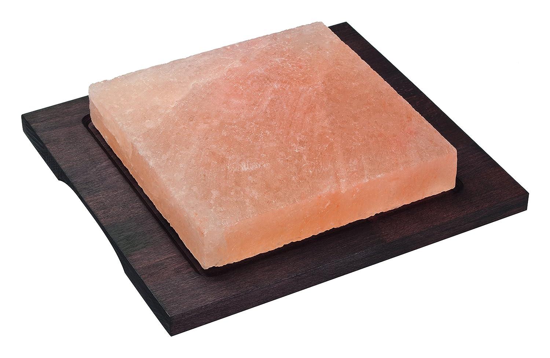 Bisetti bt-99312 cuadrado sal placa de cocina de piedra con base de madera de haya en un acabado wengué, 7.9