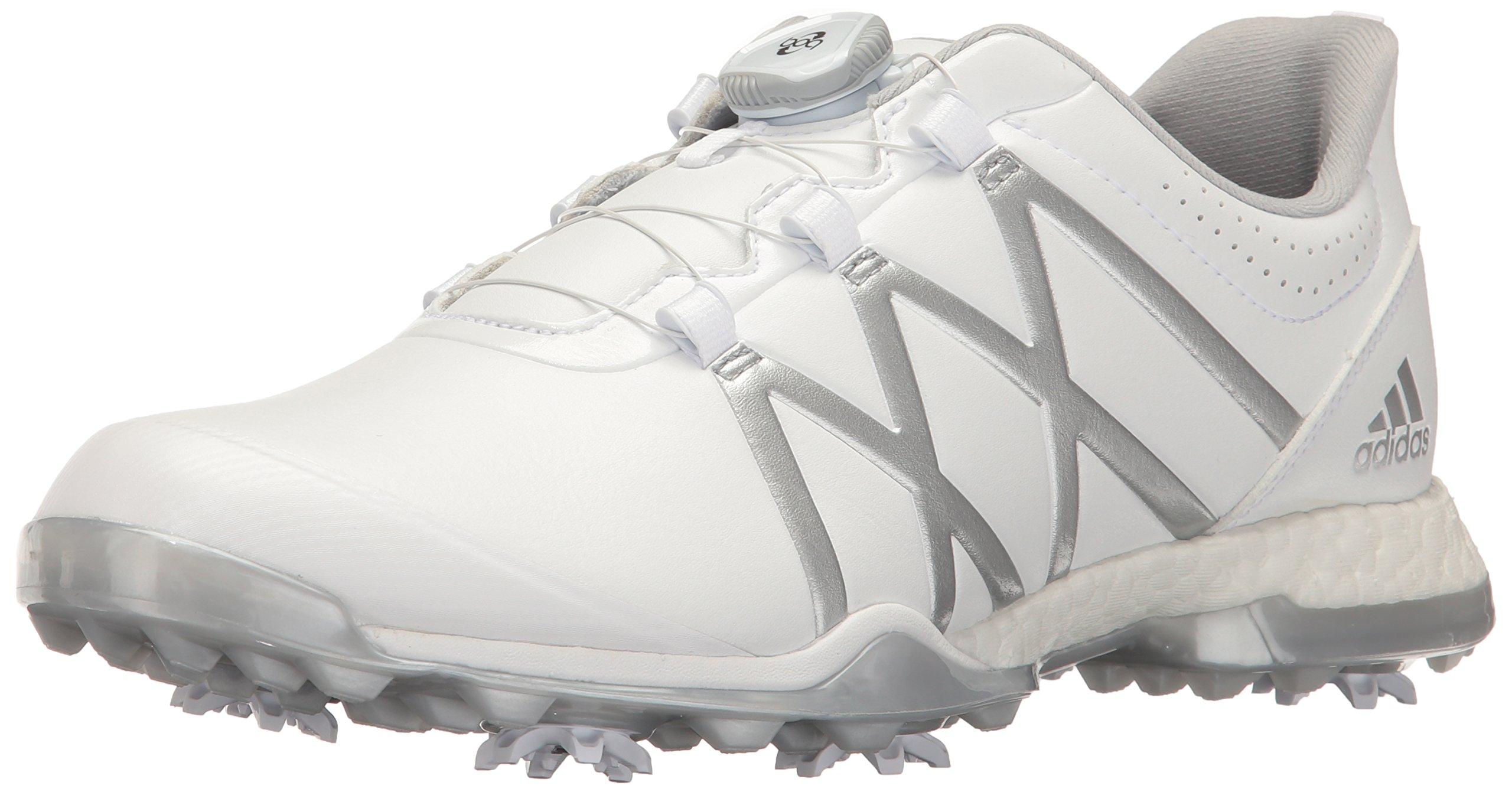 adidas Women's Adipower Boost BOA Golf Shoe, White/Matte Silver, 8 M US