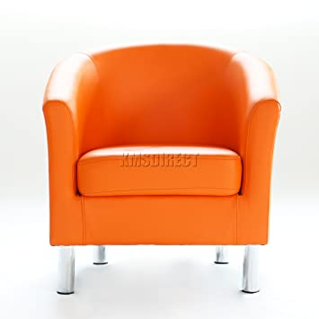WestWood Modern Tub Chair Armchair Seater Upholstered PU Faux Leather With  Chrome Leg For Home Dining Living Room Lounge Office Reception Orange  ... c13c873252c95