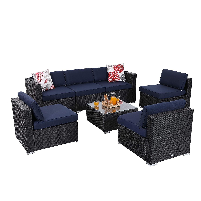 Amazon Com Phi Villa 7 Piece Patio Furniture Set Rattan Outdoor