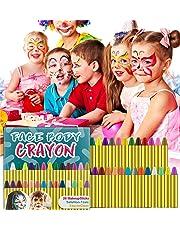 HENMI Pinturas Cara para Niños Seguridad no tóxica Pintura Facial, 28 colores Crayons de Pintura ajuste Halloween, Fiestas, Semana Santa.