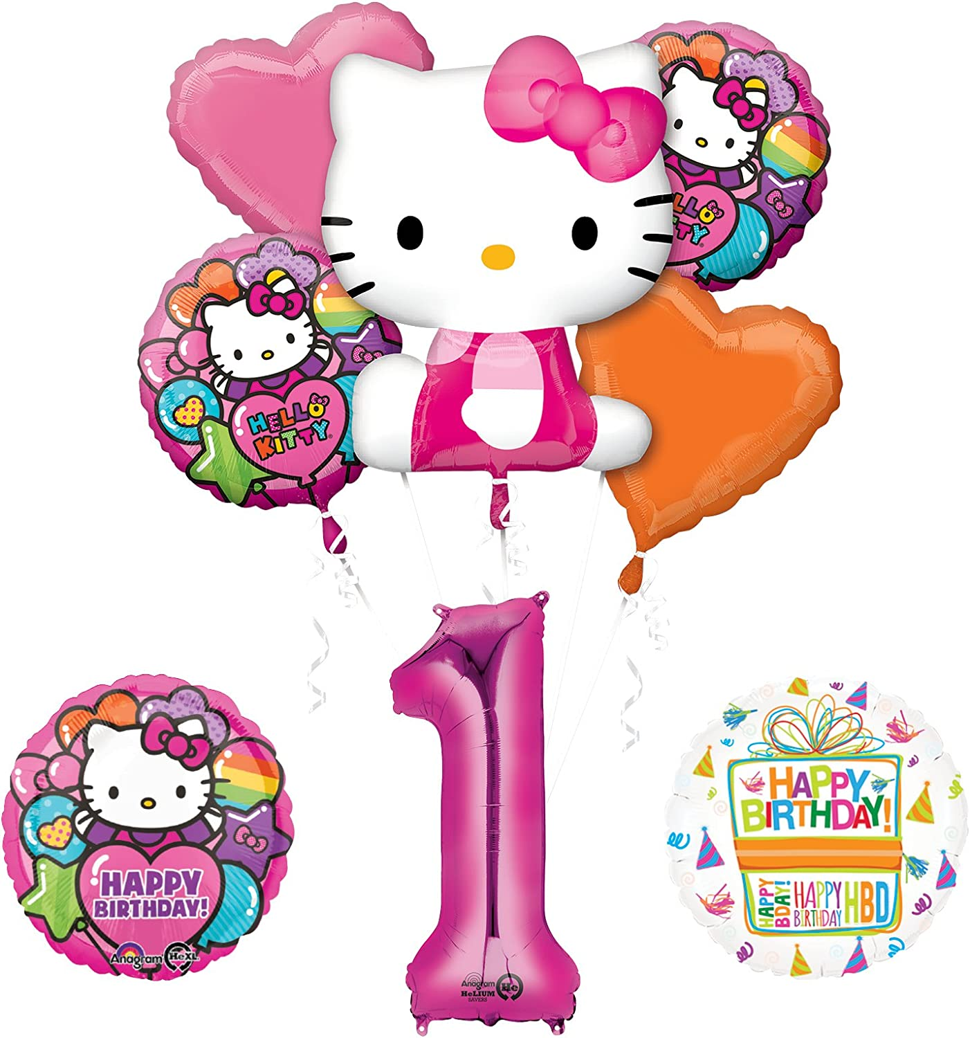 Amazon Com Mayflower Hello Kitty 1st Birthday Party Supplies And Balloon Bouquet Decorations Toys Games