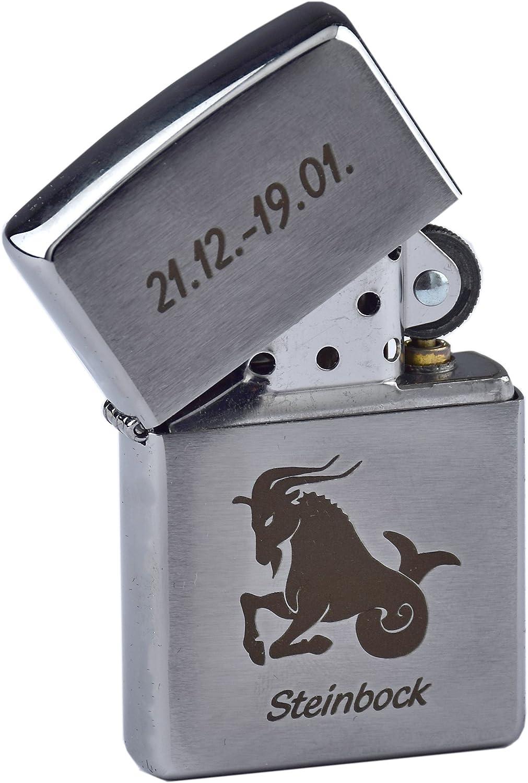 Grabado en Cromo Cepillado Zippo con Signo del Zodiaco mechero de Gasolina como Regalo