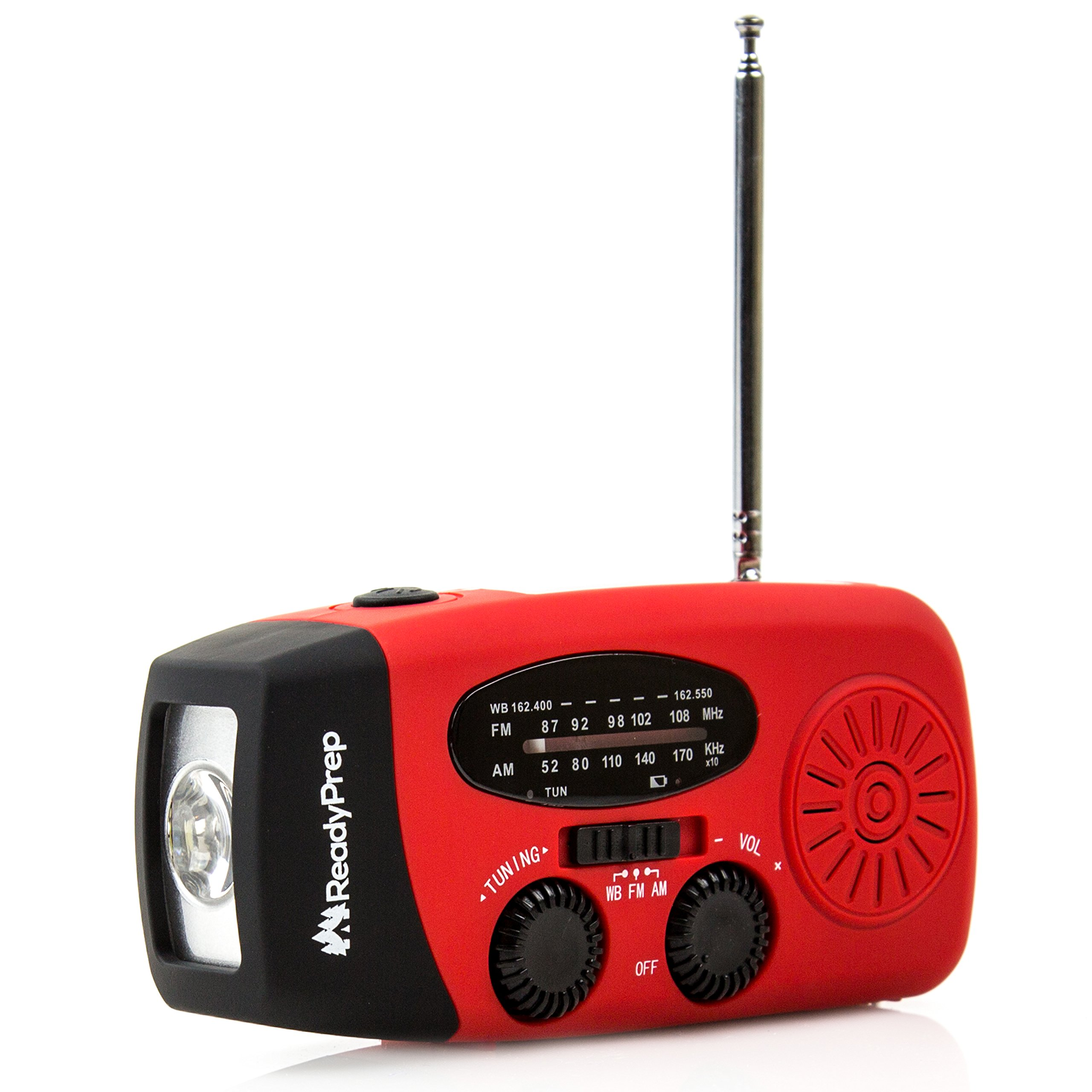 Emergency Hand Crank Self Powered AM/FM NOAA Solar Weather Radio with LED Flashlight, 1000mAh Power Bank for iPhone/Smart Phone, Camping, Outdoor, Survival