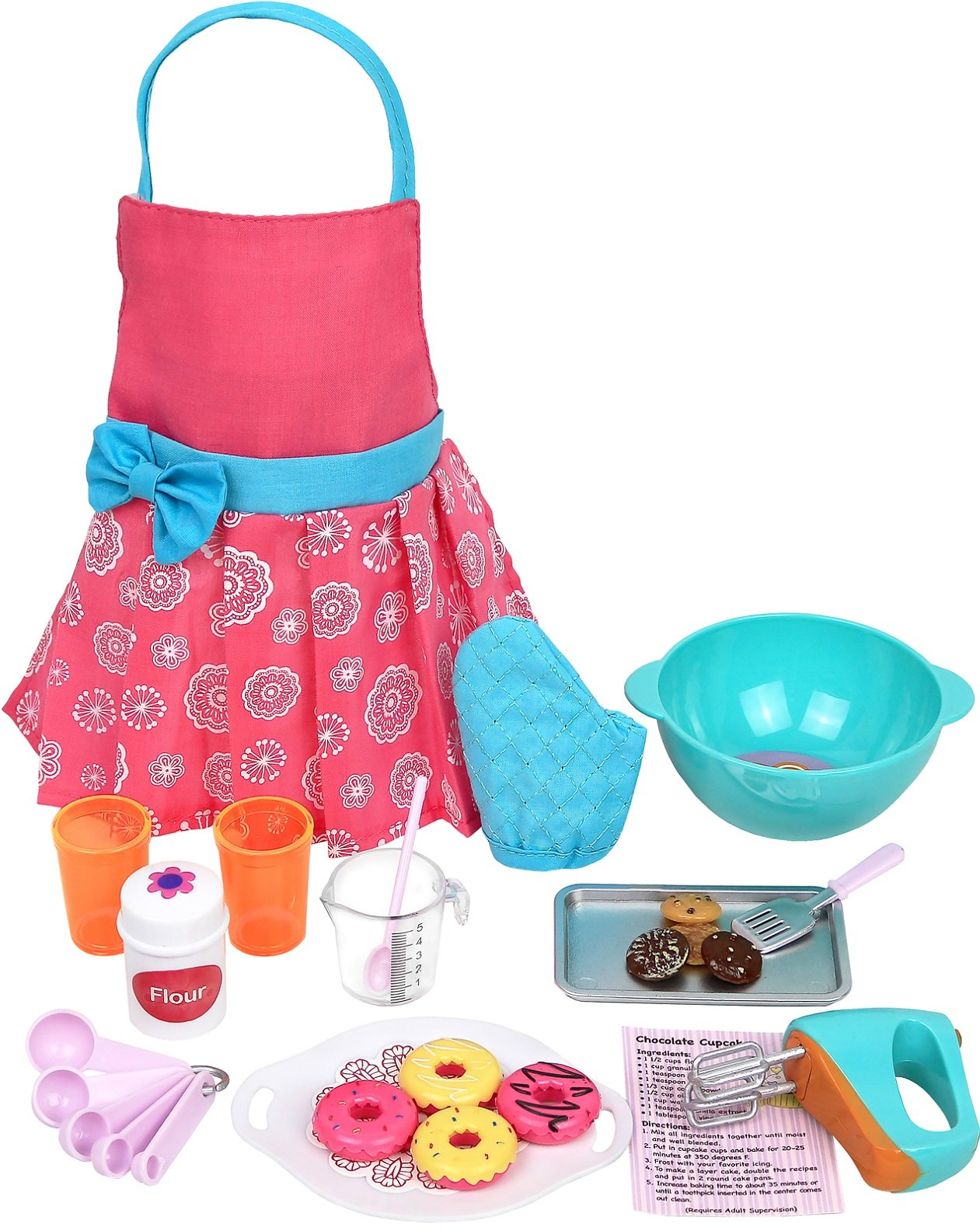 Click N' Play Doll Baking Set with Apron and Baking Utensil Accessories, Perfect for 18 inch American Girl Dolls by Click N' Play