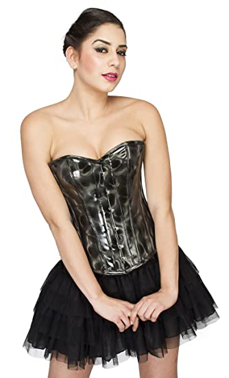 68e0da10e2b Black Leather Costume Gothic Steampunk Overbust Top Satin Net Skirt Corset  Dress  Amazon.co.uk  Clothing