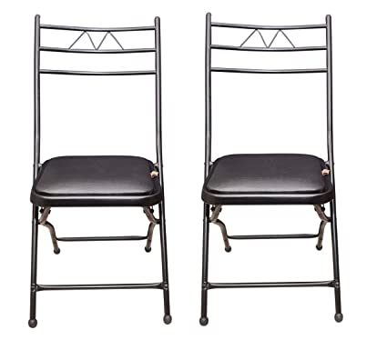 IYB-S.K. Metal Folding Chair with Cushion in Black(Set of 2)
