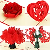 4 Pieces Valentines Day 3D Pop Up Greeting Cards 3D Pop Up Cherry Blossom Cards Rose Heart 3D Cards with Envelopes for Valentines Day Wedding Anniversary Gifts