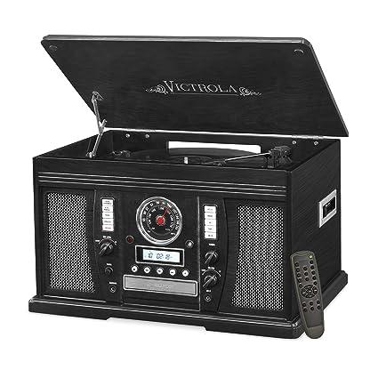 e470fc2f7bf09 Amazon.com  Victrola Nostalgic Aviator Wood 7-in-1 Bluetooth Turntable  Entertainment Center