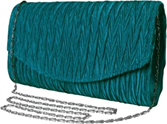 10ed5d322 Peach Couture Womens Vintage Satin Pleated Envelope Evening Cocktail  Wedding Party Handbag Clutch