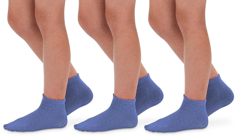 Jefferies Socks Little Girls Lace Eyelet Pointelle Scallop Trim Anklet Summer Socks 3 Pair Pack
