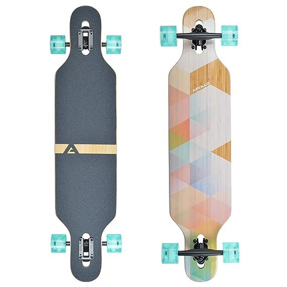 Apollo Longboard Special Edition Komplettboard inkl. T-Tool, mit High Speed ABEC Kugellagern, Drop-Through Freeride Skaten Cr