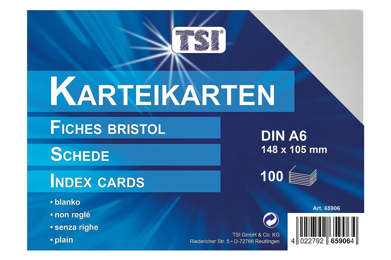 TSI - Tarjetas de cartulina (DIN A6, 100 unidades, en blanco), color blanco 4022792659064