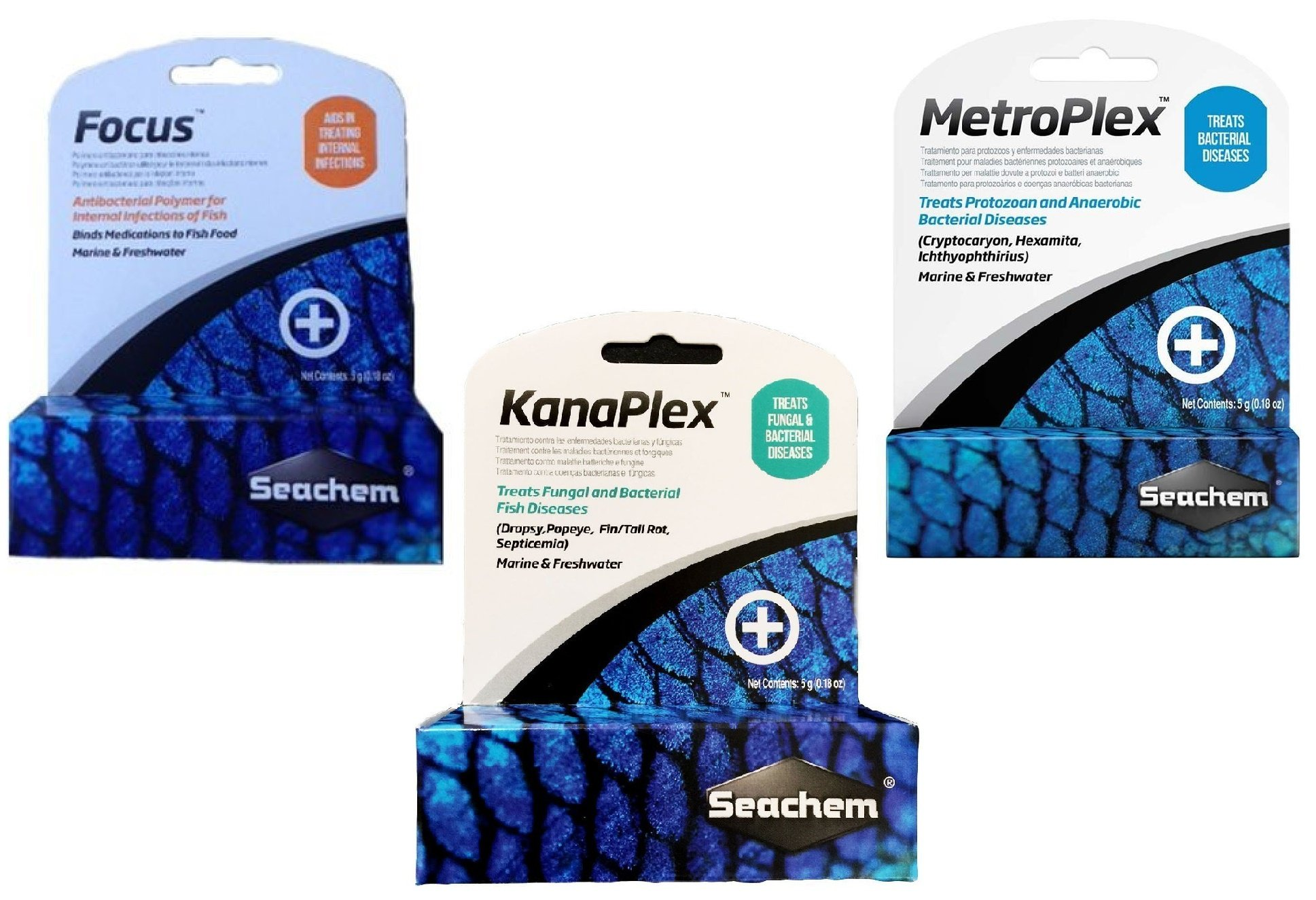 Seachem 3 Piece Treatment Kit, 1-Focus, 1-Metroplex, and 1-Kanaplex (5 Grams Each)