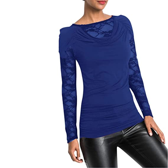 Camisa de Encaje Vintage,Longra ❤ Blusa de Encaje Floral Crochet Top Shoulder Transparente