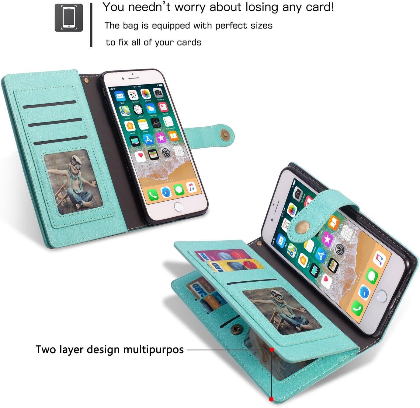 Wallet Case for Galaxy J7 2018 Case Women//Girls 9 Card Slots for Galaxy J7 2018 Blue Photo/&Wallet Pocket Retro Tech Soft Leather Multi-Function Handmade Flip Shockproof Snap-Fastener