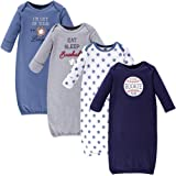 Hudson Baby Unisex Baby Cotton Gowns, Baseball 4-Pack, 0-6 Months