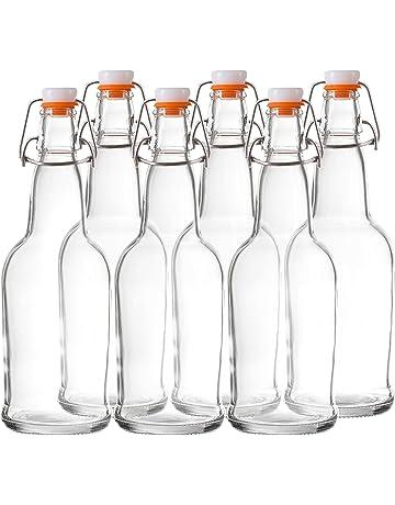 f1494f4b32e Bellemain Swing Top Grolsch Glass Bottles 16oz - CLEAR - For Brewing  Kombucha Kefir Beer (