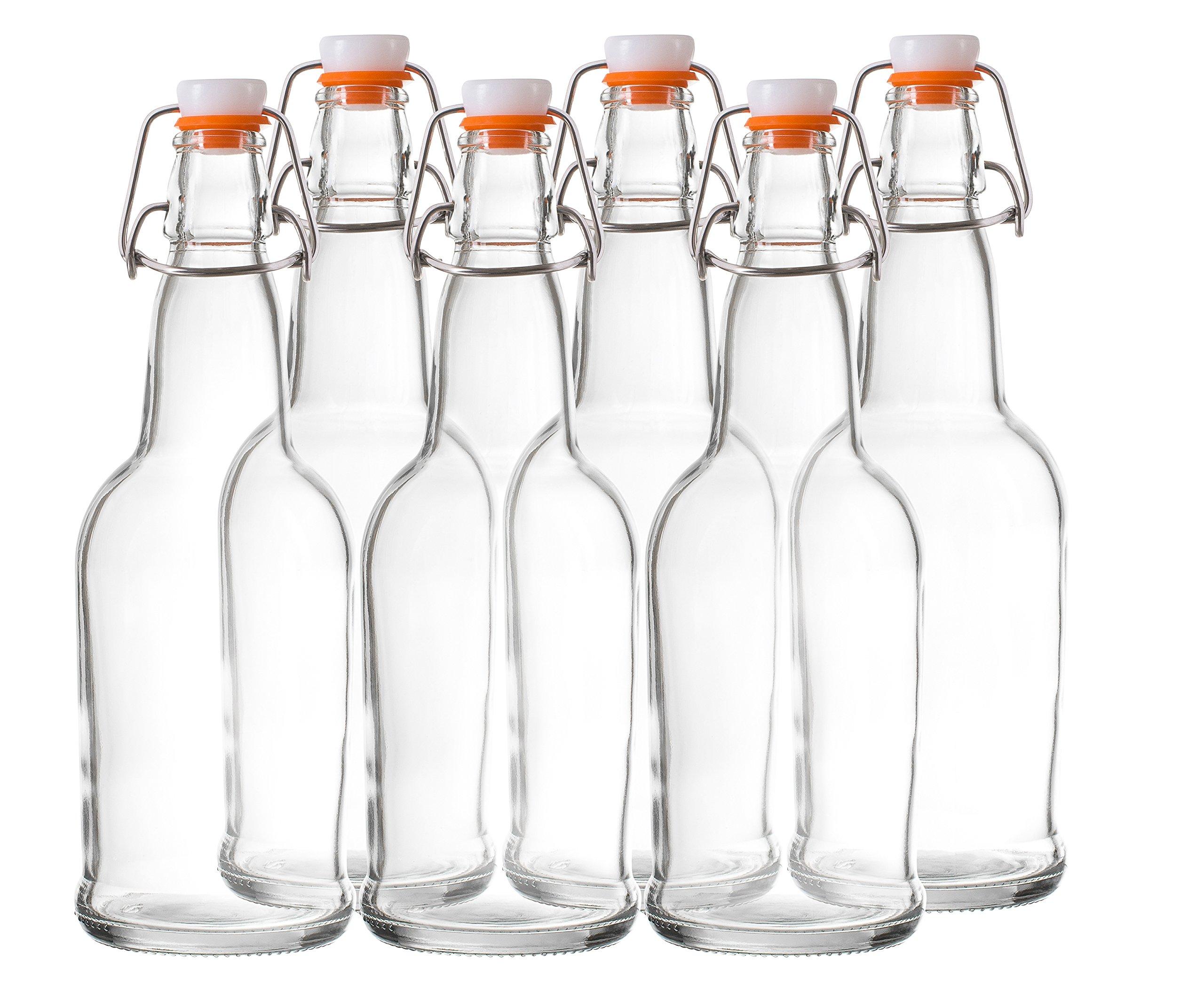 Bellemain Swing Top Grolsch Glass Bottles 16oz - CLEAR - For Brewing Kombucha Kefir Beer (6 Set) by Bellemain