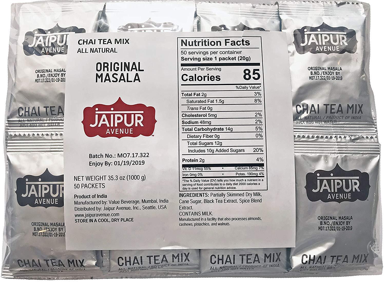 Jaipur Avenue Chai Tea Mix Masala (50-Count Bag)