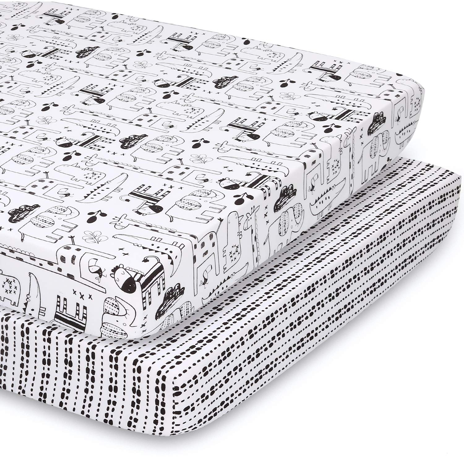 The Peanutshell fitted pack n play, Playard, mini crib sheets   2 pack set   zoo animals and tribal stripes