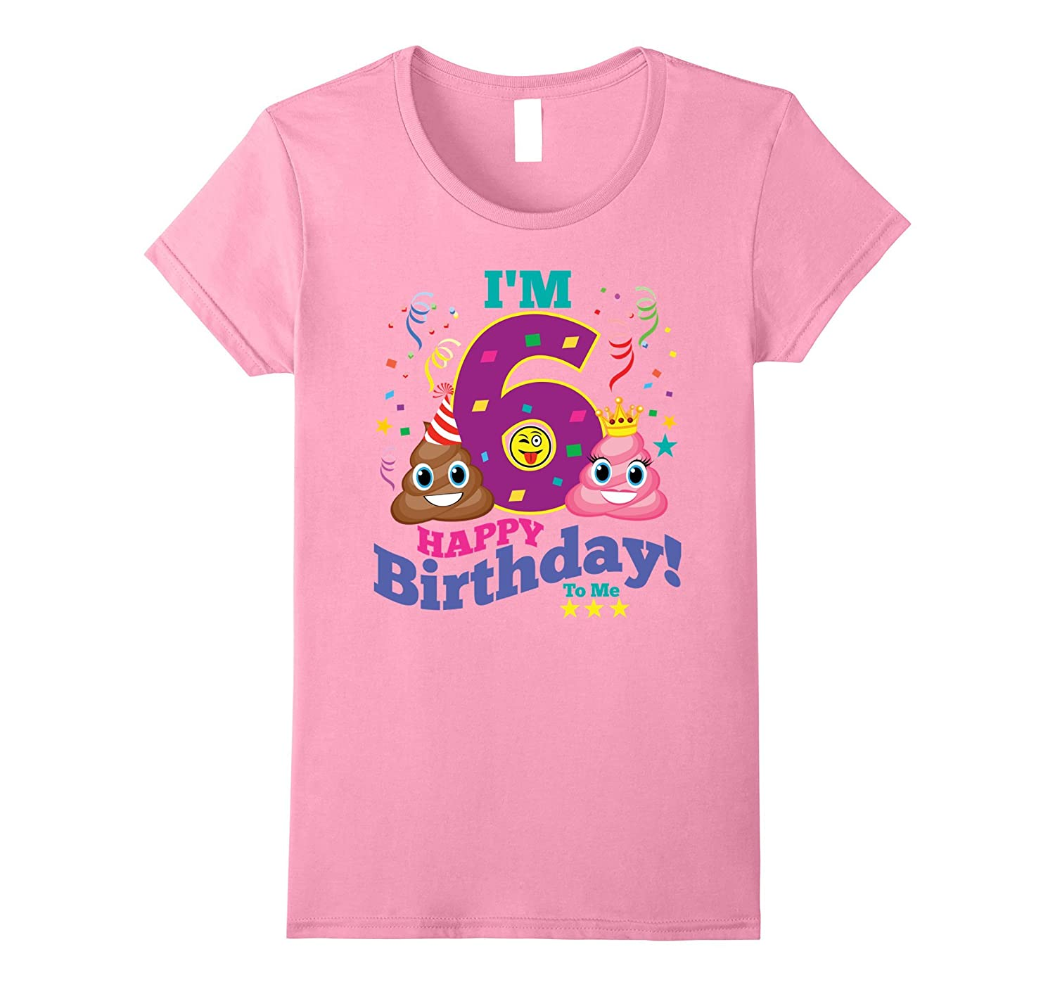 6th Birthday Shirt Birthday Girl 6 Emoji Party T-Shirt