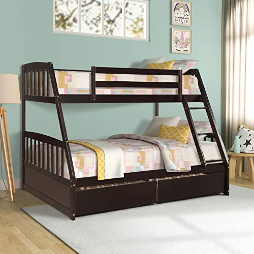 Merax Solid Wood Twin-Over-Full Bunk Bed
