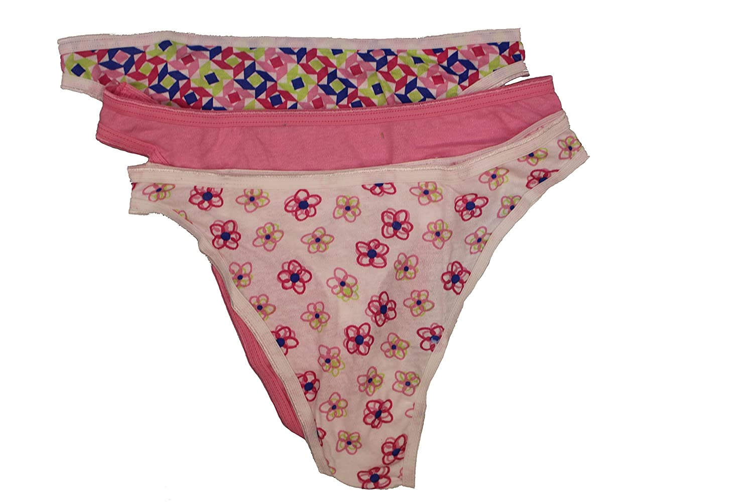 cb4755214d84 Fruit of the Loom Women 100% Cotton Thongs, Print & Color May Vary  (7(Large), Multi 3-Pack) at Amazon Women's Clothing store: