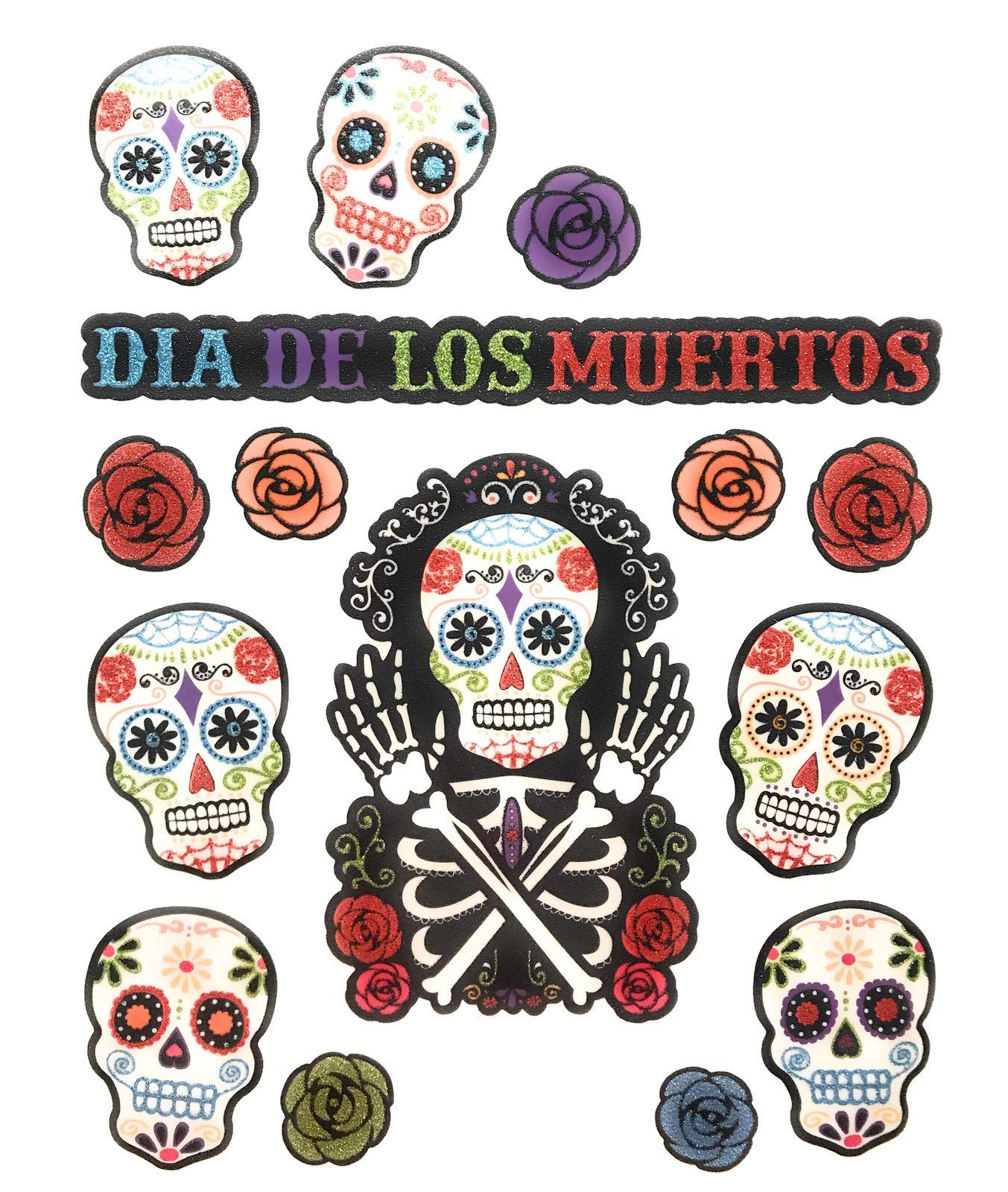Sugar Skull Window Clings, Day of the Dead Halloween Window decorations, 30 Glitter decals
