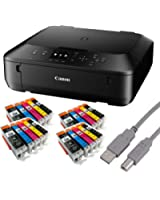 Canon Pixma MG5650 Tintenstrahl-Multifunktionsgerät (Kopierer, Scanner, Drucker, USB, WLAN) + USB Kabel & 20 Youprint Tintenpatronen (Originalpatronen ausdrücklich nicht im Lieferumfang)