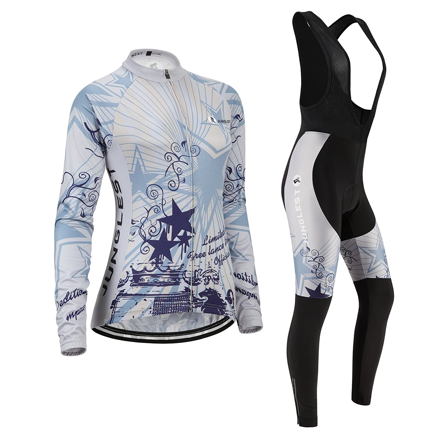 Cycling jersey Set, Maillot de Cyclisme Women Femme Long sleeve Manches Longues(S~5XL,option:bib Cuissard,3D pad Coussin) N237 jngles