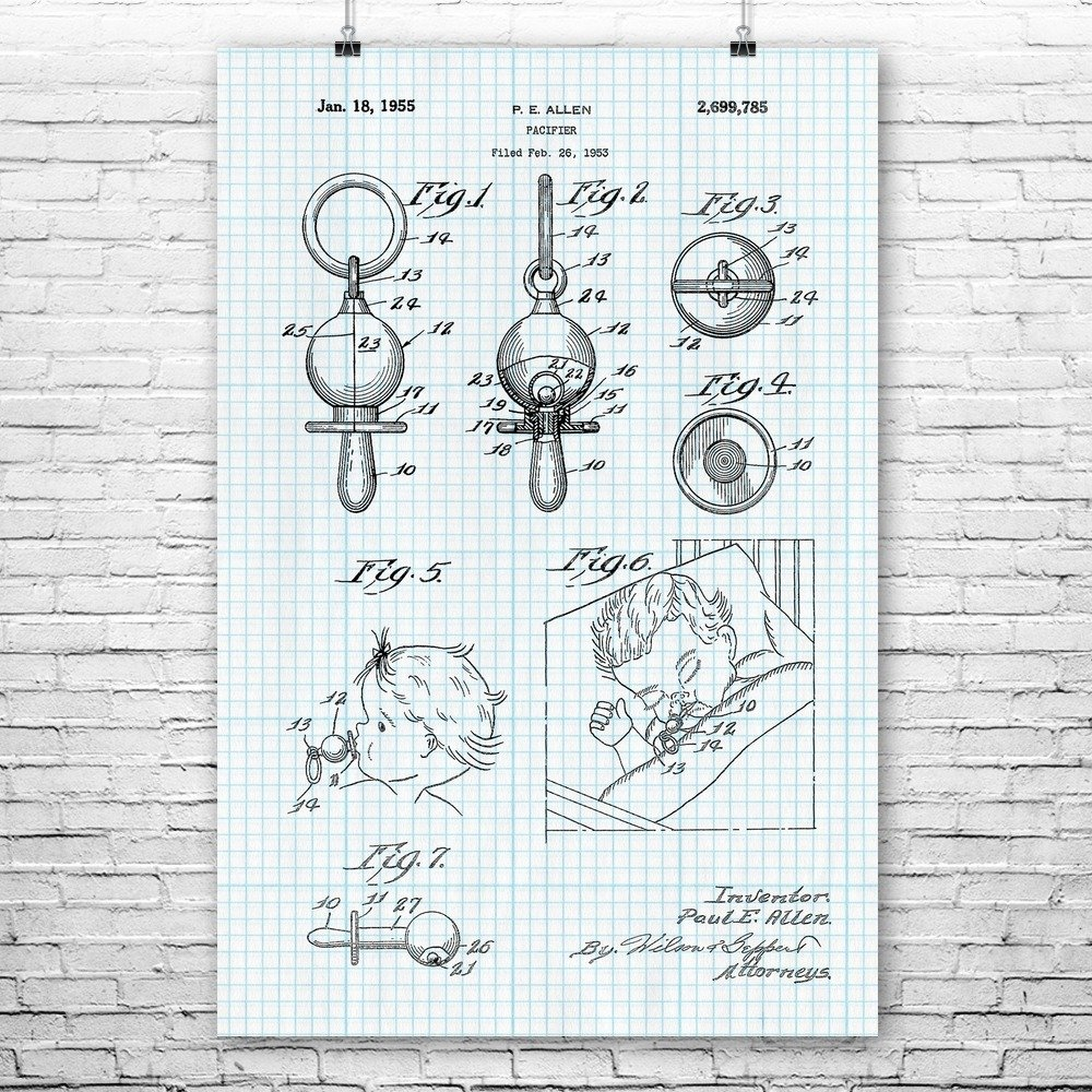 Baby Pacifier Poster Print, Parenting Gift, Infant Soother, Baby Shower, Babysitter Gift, Infant Pacifier, Child Care Graph Paper (24'' x 36'') by Patent Earth