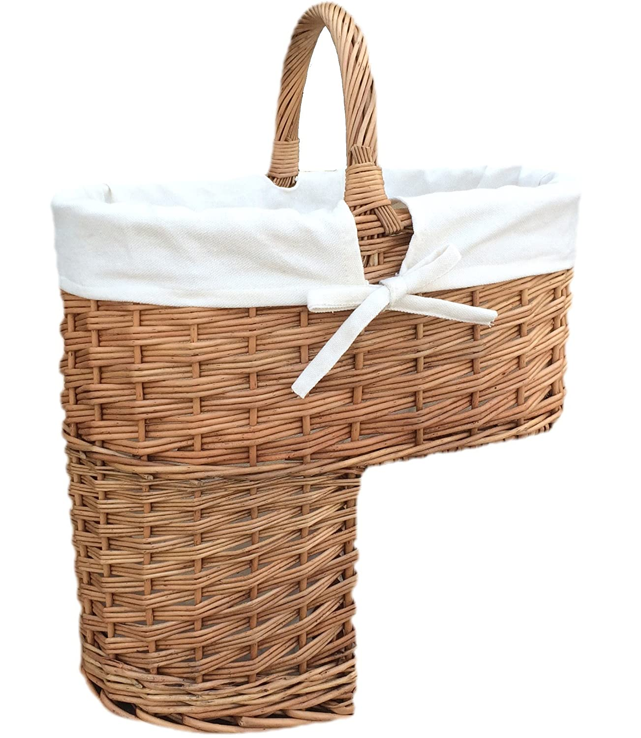 Double Steamed Willow Wicker Stair Step Basket Natural Lining Choice Baskets