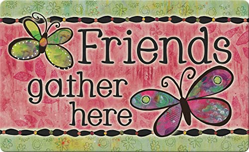 Toland Home Garden Friends Gather Here 18 x 30 Inch Decorative Inspirational Floor Mat Butterfly Doormat