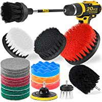 Holikme 20Piece Drill Brush Attachments Set,Black Scrub Pads & Sponge, Power Scrubber Brush with Extend Long Attachment…