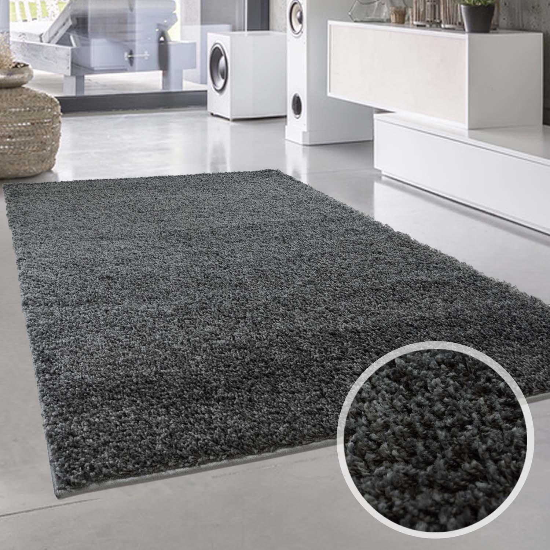 Carpet city Uni Hochflor Shaggy Teppich Einfarbig Dunkel Grau Rund und Rechteckig Öko Tex, Größe in cm 160 x 230 cm