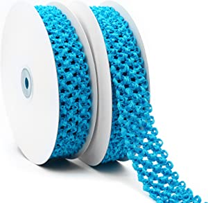 CT CRAFT LLC Elastic Crochet Headband Ribbon for Hair Bows, Hair Accessories for Girls, Waistband for Baby, Boy and Girl, Gift Wrapping, 1-1/4 inch (30mm) x 5 Yards x 2 Rolls, Turquoise
