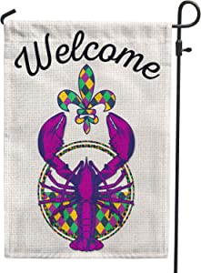 Mardi Gras Crawfish Garden Flag Double Sided 12x18,Burlap Striped Buffalo Check Plaid Fleur de Lis New Orleans Mardi Gras Flags for Carnival Outside Outdoor Yard Decoration