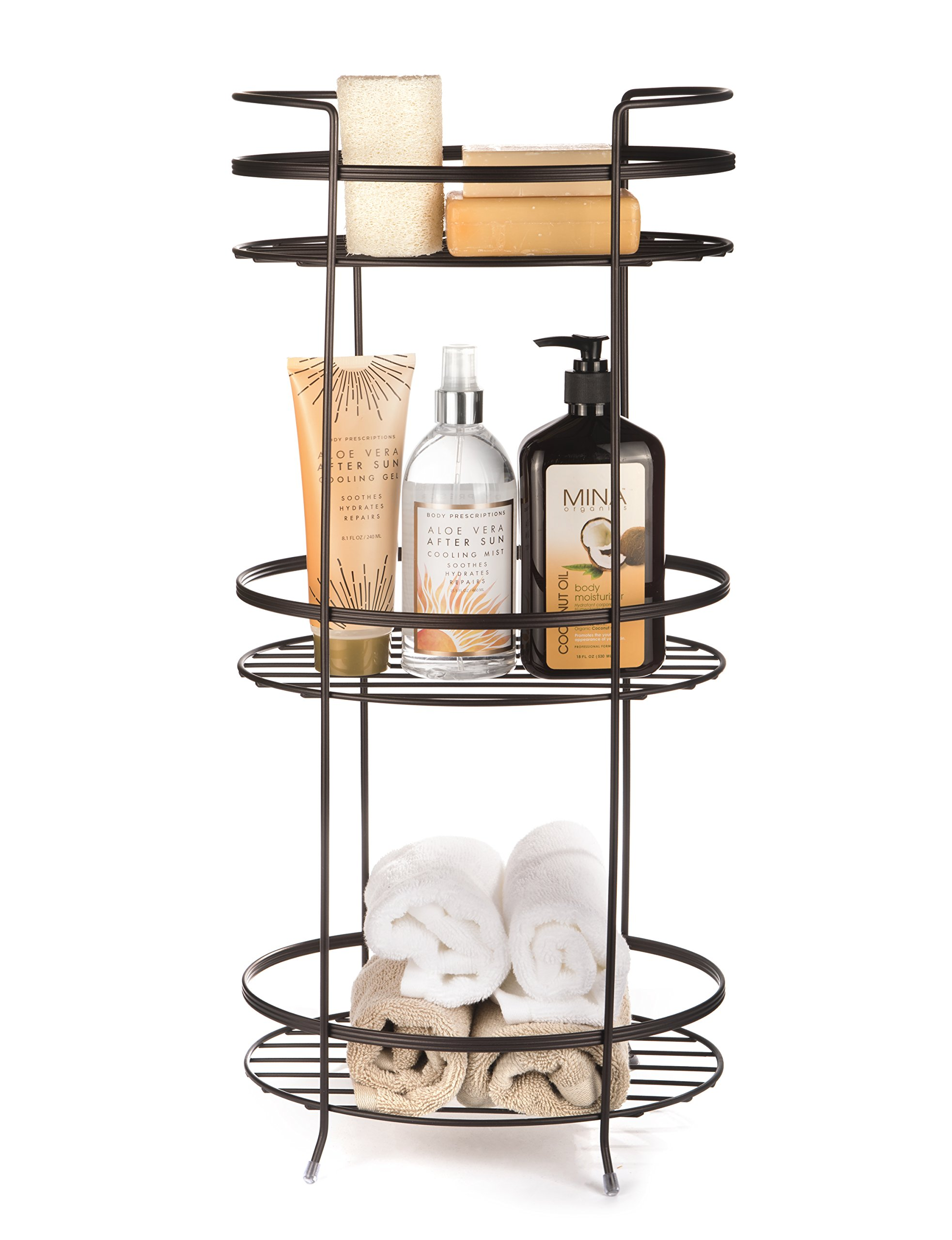 AMG and Enchante Accessories Free Standing Bathroom Spa Tower Storage Caddy, FC100005 ORB, Oil Rubbed Bronze