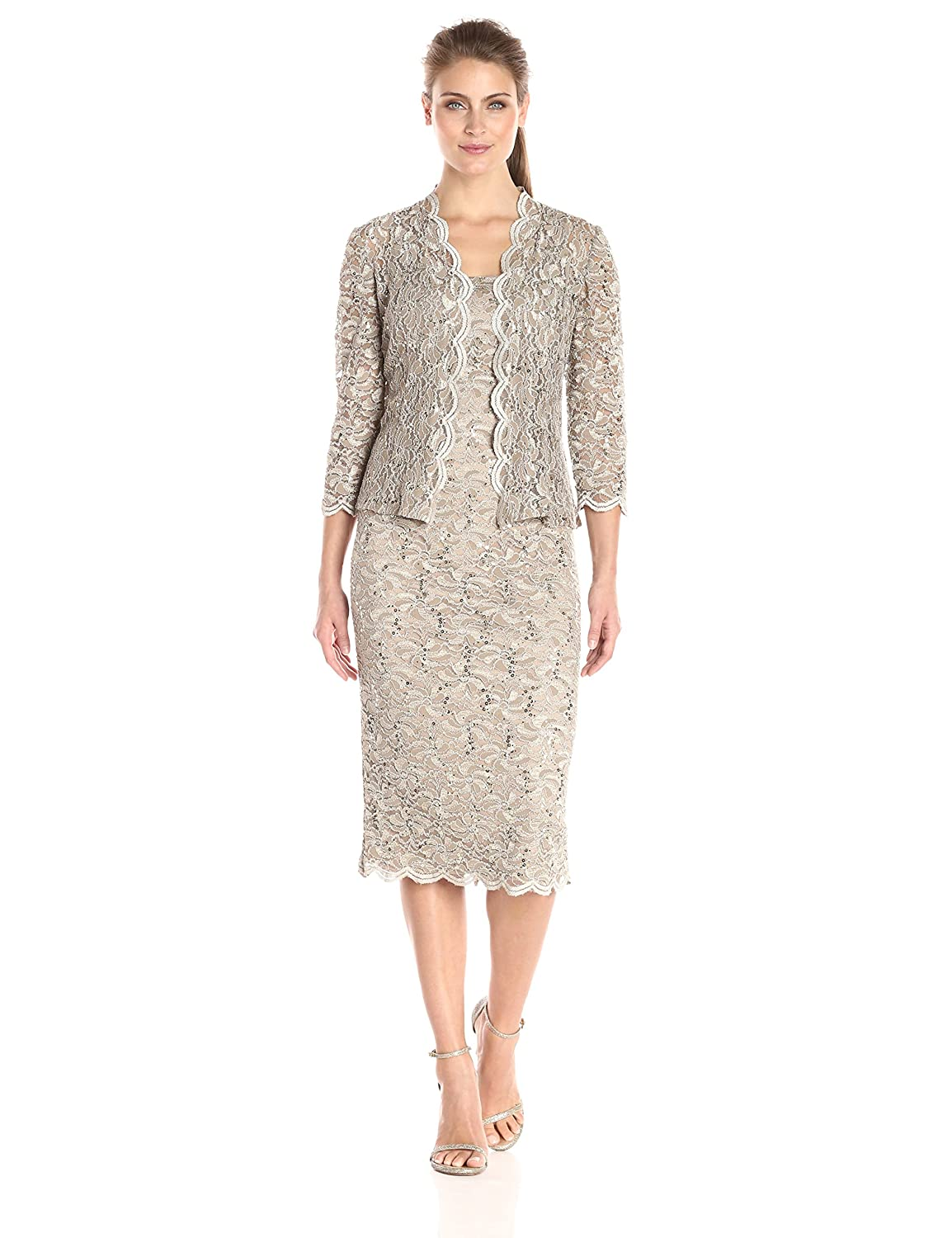 Champagne Alex Evenings Women's TLength All Over Lace Dress with Jacket Set