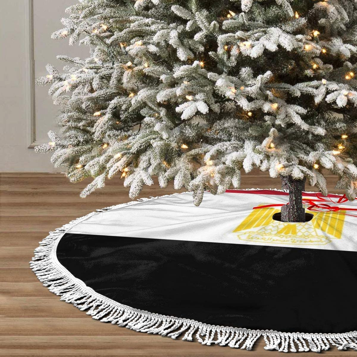 Xmas Tree Skirt 36 Inch,Egypt Flag White Tassel Edge Country Christmas Tree Skirts for Party Holiday Decorations Xmas Ornaments
