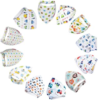 Lictin 12pcs Baby Bandana Drool Bib Bandana Dribble Bibs Bandana Super Absorbent Organic Cotton Unisex with Snaps Cute Bandana and 2pcs Pacifier Chains Perfect for Babies and Toddler 0-36 Months