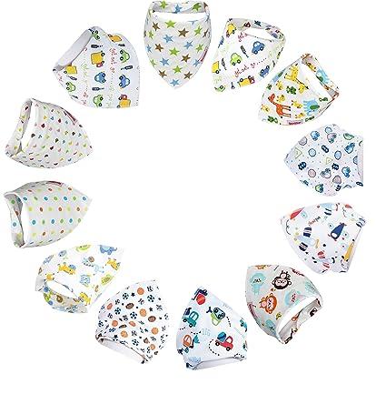 Lot de 3 bandana bavoirs bébé avec dessins en cotton bavoirs triangle naissance brodés Bib étanche