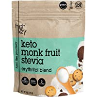 HighKey Monk Fruit, Stevia, Erythritol Sweetener 2:1 Blend – Keto, Diabetic & Paleo Friendly – Granulated, Low Calorie, No Carb Natural Sugar Substitute – Non GMO, Vegan, Kosher, Non Glycemic 16 oz
