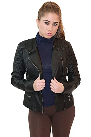 1e28974e7492 Olivia Miller Womens Faux Leather Zip Up Moto Biker Jacket JK5207S Black  Small