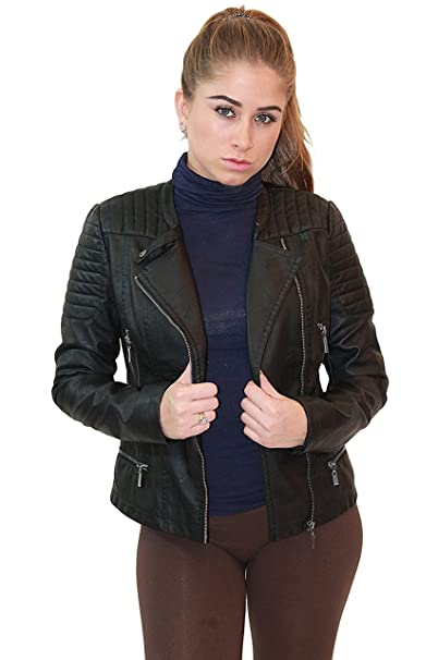 508e4d0da Olivia Miller Womens Faux Leather Moto Biker Jacket with Pockets