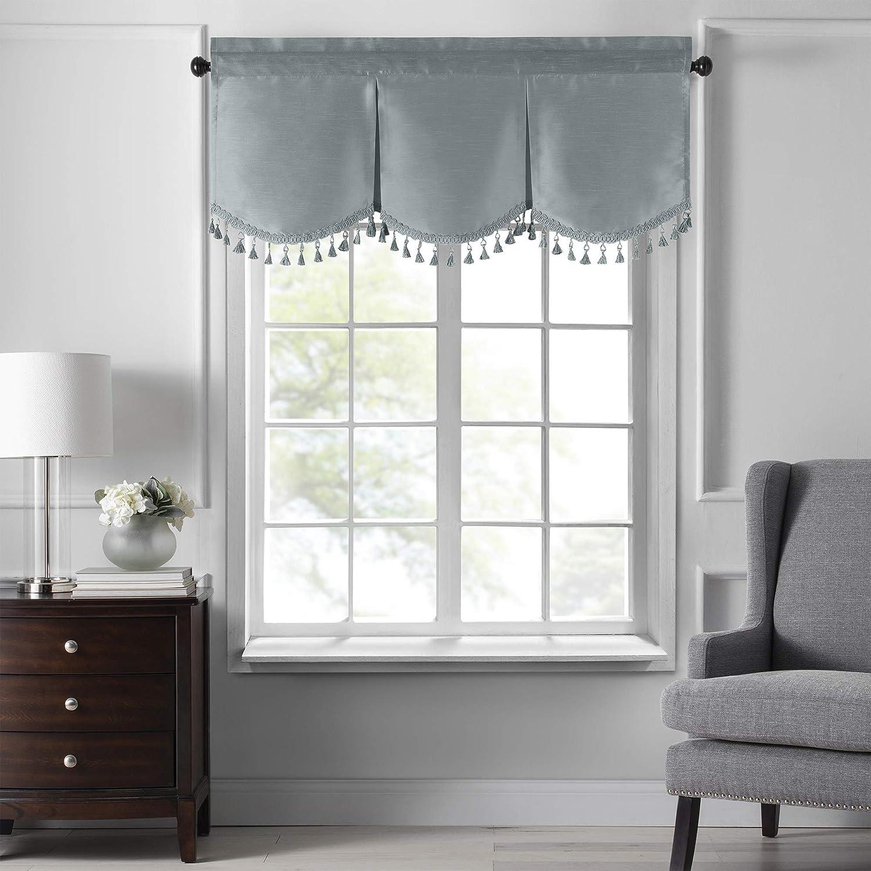 "Elrene Home Fashions Colette Faux Silk Tassel Scallop Window Valance, 48"" x 21"", Mineral"